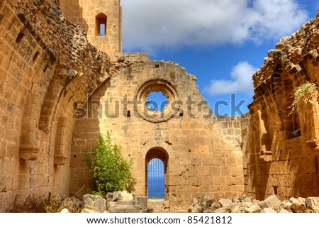 Historic Bellapais Abbey in Kyrenia, Northern Cyprus. Original construction was built between 1198-1205, it is the most beautiful Gothic building in the Near East.