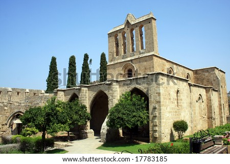 Historic Bellapais Abbey in Northern Cyprus - stock photo