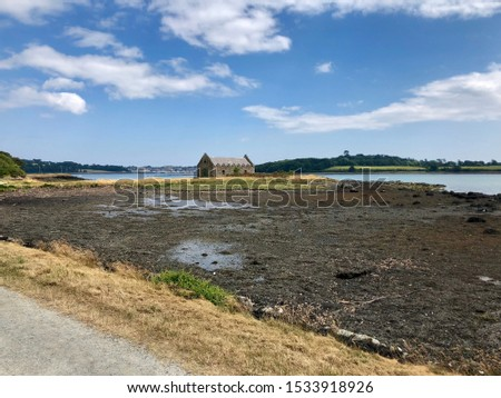 Historic Boathouse / Old Boat Storage in Ireland on Strangford Lough with low tide #1533918926