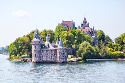 Historic Boldt Castle in the 1000 Islands region of New York State on Heart Island in St. Lawrence River. In 1900, millionaire George Boldt wanted to build a 6-story castle as a present to his wife.