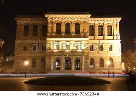 Historic building at night