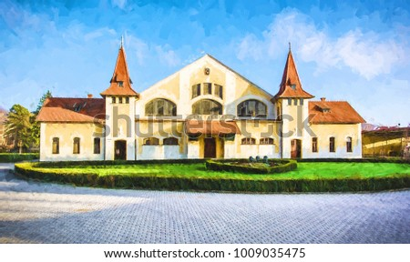 Historic building of national stud farm, Topolcianky, Slovak republic. Illustration theme. Travel destination.
