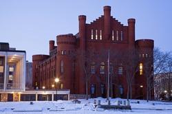Historic Building - University of Wisconsin - seen from frozen Lake Mendota.