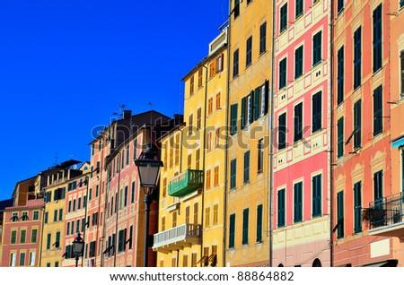 historic buildings in Camogli, Genoa, Italy