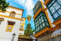 historic buildings in the Santa Cruz district of Seville, Spain