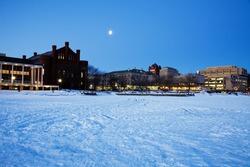 Historic Buildings - University of Wisconsin - seen from frozen Lake Mendota.