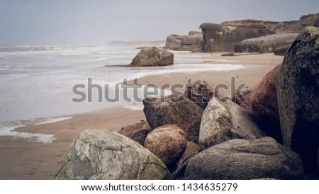 Historic bunker of the world war 2 on the beach in Lokken, North Denmark