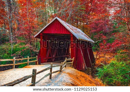 Historic Campbells Covered Bridge in Landrum near Greenville South Carolina SC.