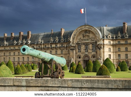 Historic cannon in Les Invalides museum in Paris, France.