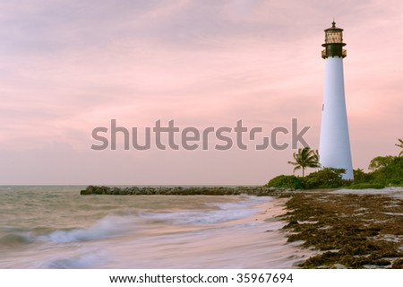 historic cape Florida lighthouse near Miami, at dawn - stock photo