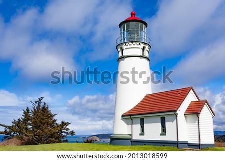Historic Capo Blanco Lighthouse in Capo Blanco State Park, Oregon, OR, USA Stockfoto ©