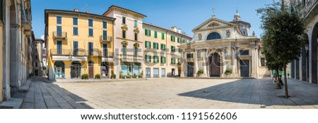 Historic center and pedestrian area in Varese, an important city in northern Italy. Basilica of San Vittore, among eighteenth-century, nineteenth-century and twentieth-century palaces