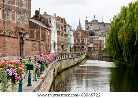 Historic center of Ghent, view of Prinsenhof and Gravensteen castle