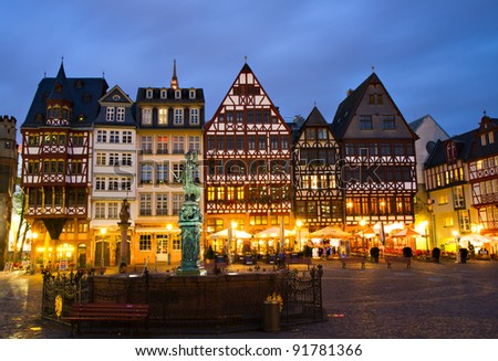 Historic Centre of Frankfurt at Twilight, Hessen, Germany