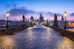 Historic Charles Bridge in Prague in winter, Czech Republic