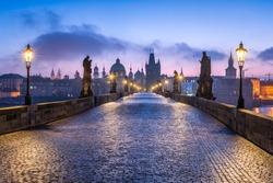 Historic Charles Bridge in Prague in winter, Czech Republic