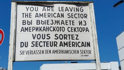 Historic Checkpoint Charlie. It was the most famous of the Berlin Wall border crossings between 1945 and 1990.
