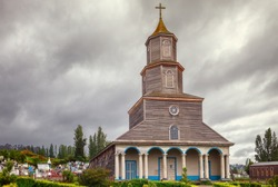Historic church of Nercon, catholic temple located in the chilota commune of Castro in the region of the lakes, Chiloe, southern Chile, recognized as a World Heritage Site by Unesco