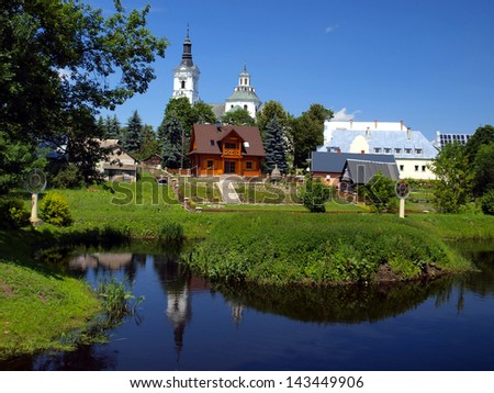 historic church of St Anne's Basilica and Shrine of Our Lady of Kodeniu the Bug river in Poland, view from the Calvary