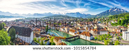 Historic city center of Lucerne with famous Chapel Bridge and lake Lucerne (Vierwaldstattersee), Canton of Luzern, Switzerland - Shutterstock ID 1015854784