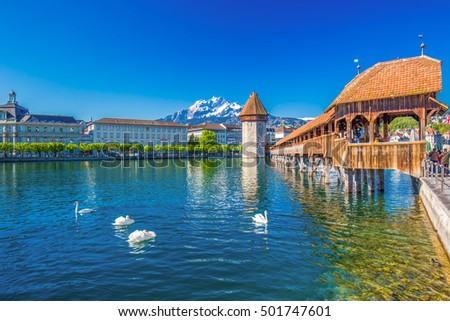 Historic city center of Lucerne with famous Chapel Bridge and lake Lucerne (Vierwaldstattersee), Canton of Lucerne, Switzerland