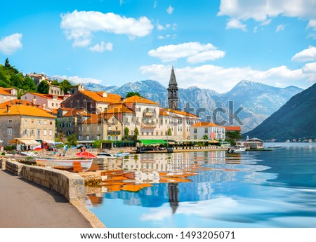 Historic city of Perast at Bay of Kotor in summer, Montenegro