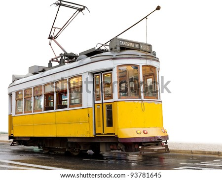 historic classic yellow tram of Lisbon built partially isolated on white, Portugal