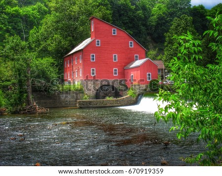Historic Clinton New Jersey Red Mill, water wheel, waterfall