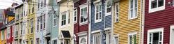 Historic colourful jellybean houses in St. John's, Newfoundland, Canada.