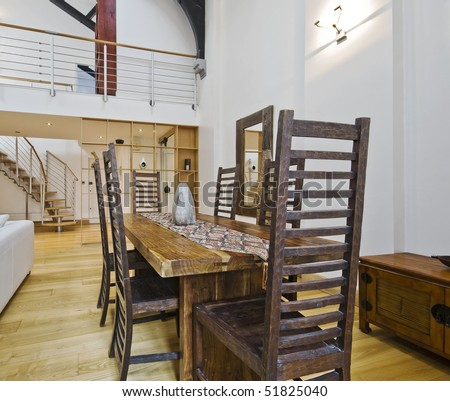 historic conversion apartment with mezzanine and luxury furniture