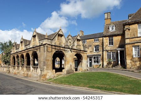 Historic Cotswolds village of Chipping Campden, featuring its ancient market hall