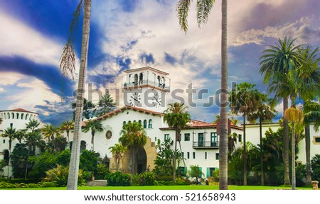 Historic courthouse entrance in Santa Barbara, California.