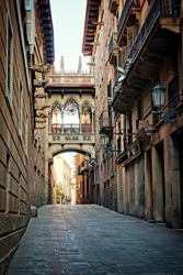 Historic covered bridge in the Gothic Quarter of old Barcelona, Spain
