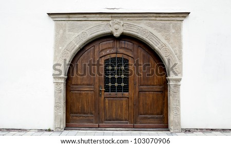 Historic door in Kromeriz, Czech republic