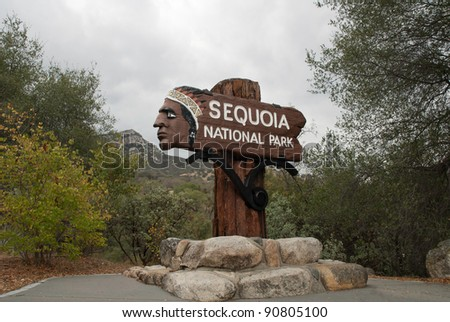 Historic Entry Sign at Sequoia National Park, USA