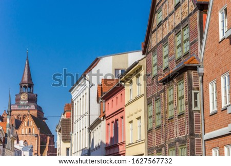 Historic facades and church tower in Gustrow, Germany