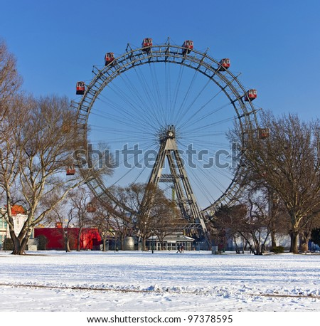 Historic ferris wheel of Vienna/Austria in winter