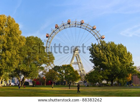 historic Ferris Wheel of vienna prater park