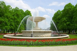 historic fountain in Saski park, Warsaw, Poland