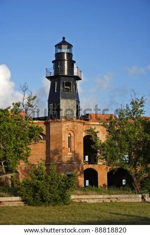 Historic Garden Key Lighthouse in Dry Tortugas National Park, Florida
