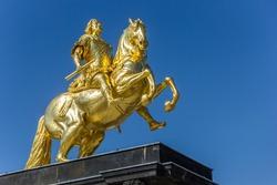 Historic Goldener Reiter statue in Neustadt neighbourhood of Dresden, Germany