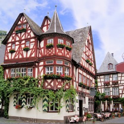 Historic half timbered houses of the Rhine village of Bacharach, Germany