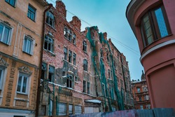 Historic heritage object Goving House Art Nouveau style in disrepair. Vyborg, Russia