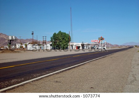 Historic highway,Route 66, in California in the Mojave Desert
