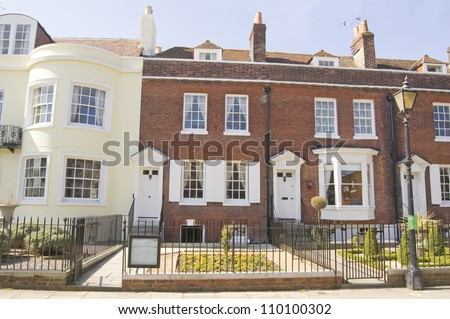 Historic house in Portsmouth, Hampshire where the novelist Charles Dickens was born (1812 - 1870). Now a museum dedicated to the great writer.  Historic house viewed from pavement. - stock photo