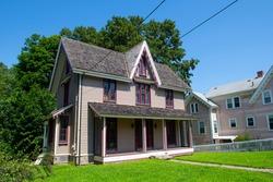 Historic house on Washington Street in downtown Peabody, Massachusetts MA, USA.