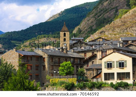 Historic houses and church in Ordino, old village in Andorra