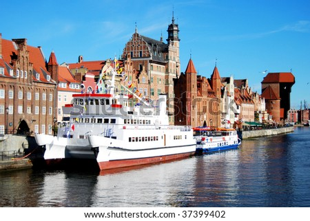 Historic houses and harbor in  Gdansk in Poland