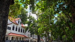 Historic houses from Fort Zeelandia. a fortress located in Paramaribo, Suriname. A country in South-America with an interesting history.