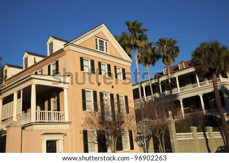 Historic houses in Charleston - waterfront area